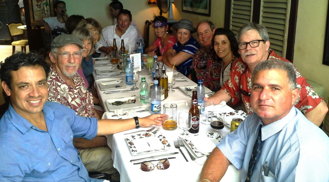 Group casual lunch in Old Havana restaurant is part of Cuba music and arts cultural exchange tour