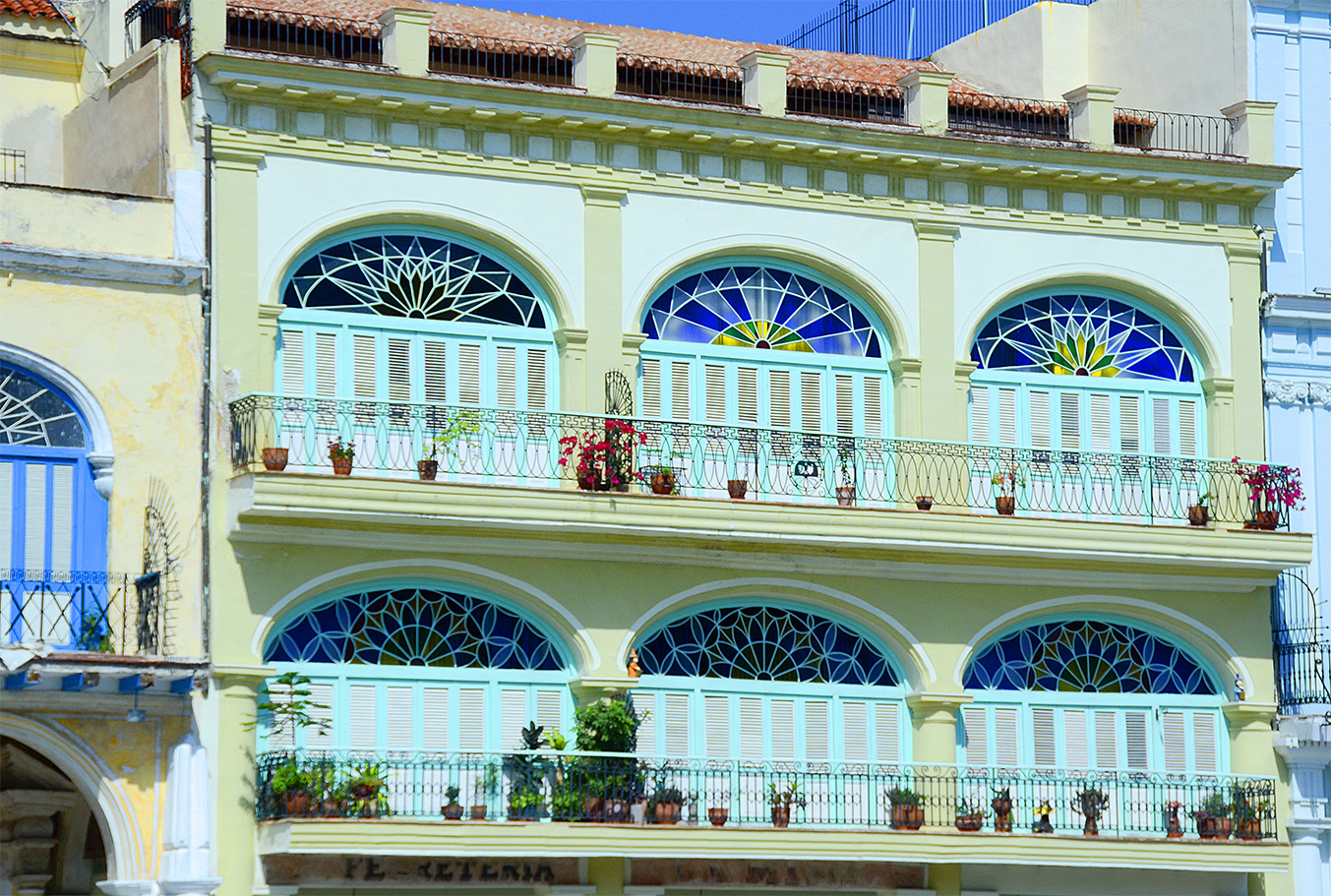 Historic architecture of Cuba is preserved in Old Havana historic colorful building seen on people-to-people cultural tour